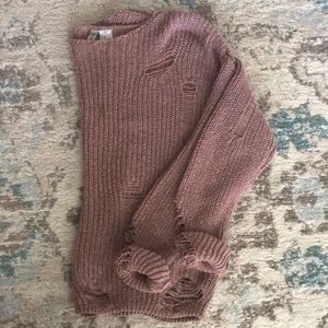 H&M distressed vintage pink knit sweater chunky